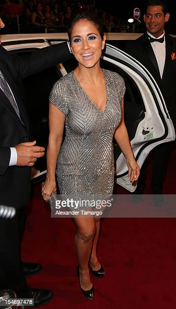 Jackie Guerrido arrives at Sabado Gigante 50th Anniversary Celebration at Univision Headquarters on October 24 2012 in Miami Florida