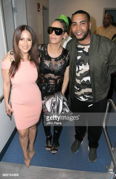 Jackie Guerrido Ivy Queen and Don Omar Song Launch Amame O Matame Don Omar Feat Ivy Queen at SBS Studios on April 14 2017 in Miami Florida