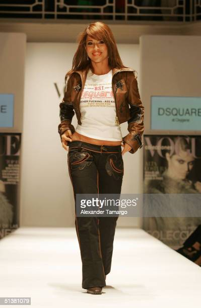 Jackie Guerrido models for the Vogue En Espaol Fall Fashion Spectacular at the Moore Building on September 30 2004 in Miami Florida