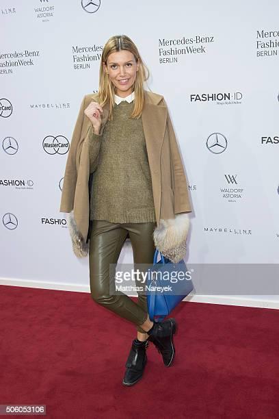 Jackie Hide attends the Ewa Herzog show during the MercedesBenz Fashion Week Berlin Autumn/Winter 2016 at Brandenburg Gate on January 21 2016 in...