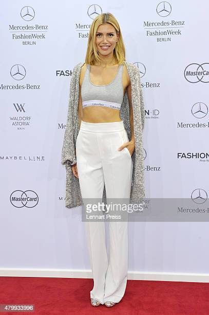Jackie Hide attends the Irene Luft show during the MercedesBenz Fashion Week Berlin Spring/Summer 2016 at Brandenburg Gate on July 8 2015 in Berlin...