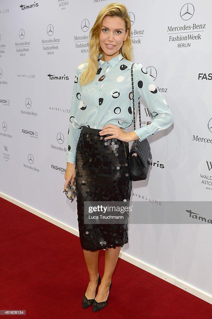 Jackie Hide attends the Rebekka Ruetz show during the MercedesBenz Fashion Week Berlin Autumn/Winter 2015/16 at Brandenburg Gate on January 20 2015...