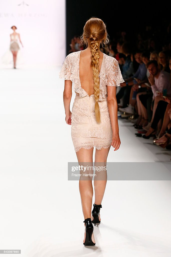 Jackie Hide walks the runway at the Ewa Herzog show during the Mercedes-Benz Fashion Week Berlin Spring/Summer 2017 at Erika Hess Eisstadion on June 28, 2016 in Berlin, Germany.