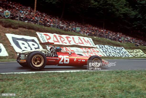 26 Jackie Ickx in his Ferrari 312 V12 entering Nouveau Monde Hairpin at Rouen the eventual winner of the French GP 7 July 1968
