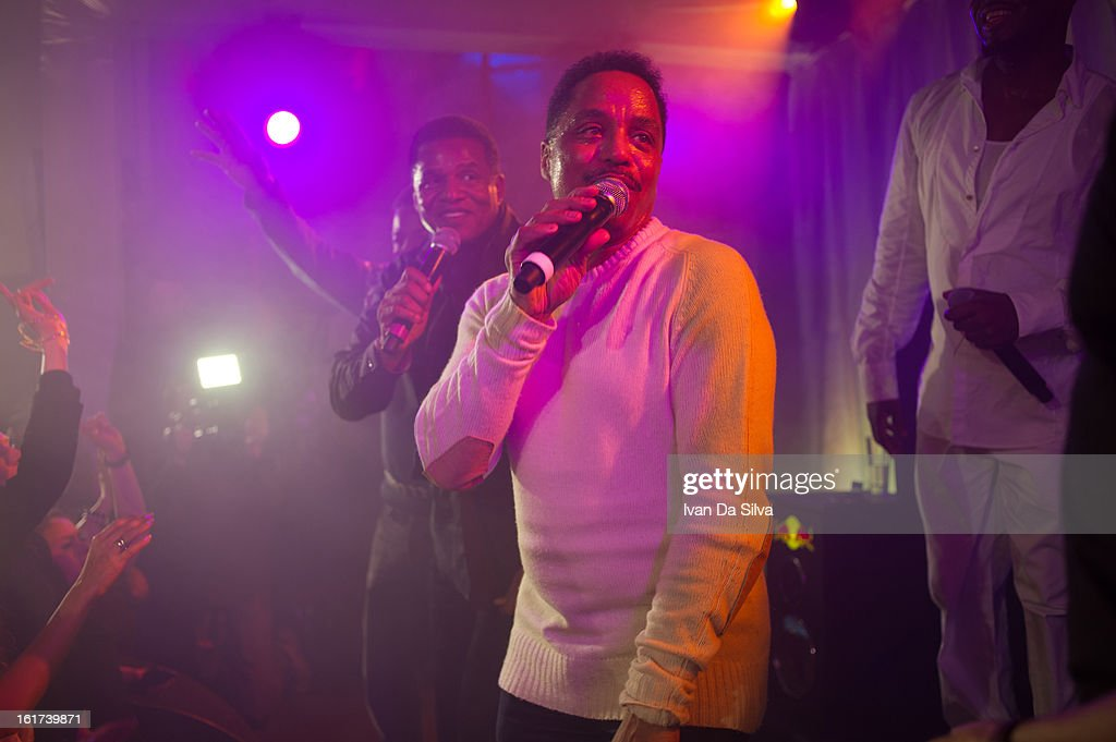 Jackie Jackson and Marlon Jackson of The Jacksons perform with Wyclef Jean at Cafe Opera on February 14, 2013 in Stockholm, Sweden.