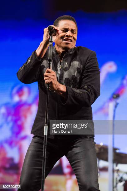 Jackie Jackson from The Jacksons performs on the West Holts Stage on day 3 of the Glastonbury Festival 2017 at Worthy Farm Pilton on June 24 2017 in...