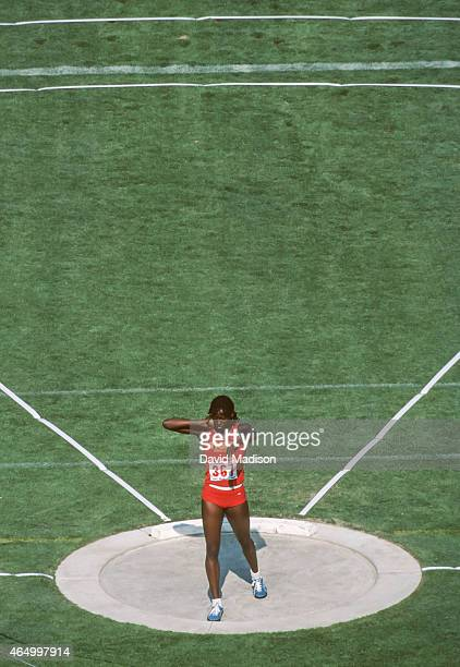 Jackie Joyner of the USA competes in the shotput event of the Heptathlon competition of the 1984 USA Olympic Track and Field Trials on June 16 1984...