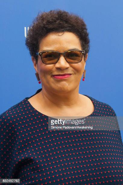 Jackie Kay attends a photocall during the Edinburgh International Book Festival on August 16 2017 in Edinburgh Scotland