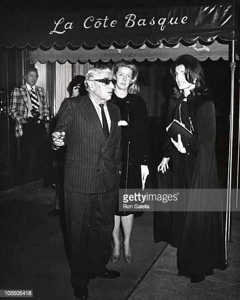 Jackie Kennedy Onassis and Aristotle Onassis during Jackie Kennedy Onassis and Aristotle Onassis at La Cote Basque January 1 1973 at La Cote Basque...