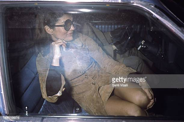Jackie Kennedy Onassis inside her car on January 24 1971 in New York New York