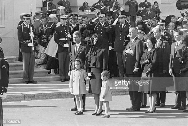 Jackie Kennedy stands with her children Caroline and John Jr and brotherinlaw Robert Kennedy at the funeral of her late husband on November 25 1963...