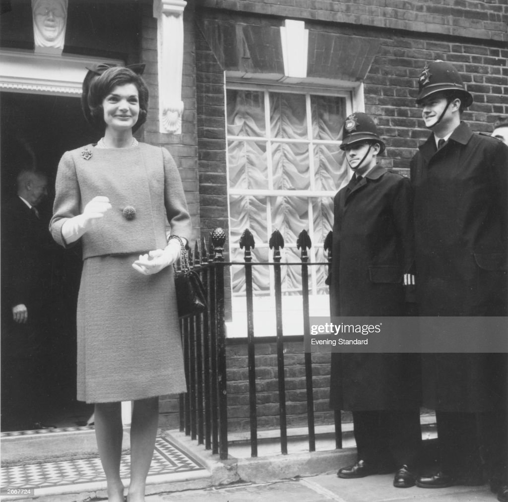 Jackie Kennedy wife of American president John F Kennedy on her way to visit the Queen during a visit to London