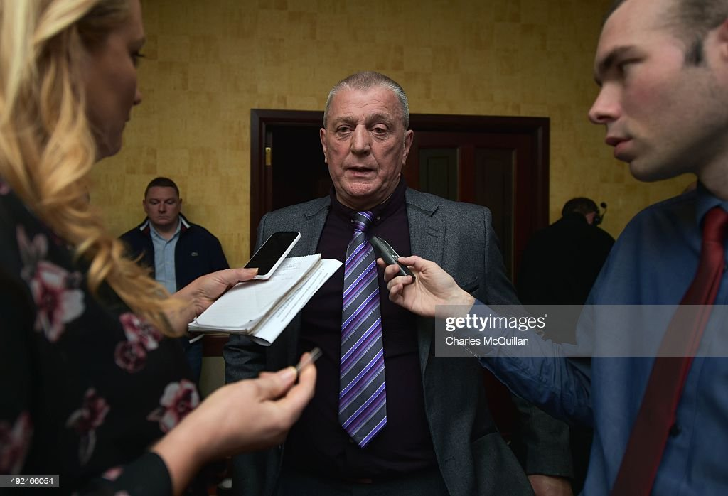 Jackie McDonald, former head of the UDA speaks to reporters after the launch of the Loyalist Community Council at the Park Avenue Hotel on October 13, 2015 in Belfast, Northern Ireland. The council has the backing of the three main loyalist paramilitary groups, the UVF, the UDA and the Red Hand Commandos. A joint statement from the three loyalist groups said that they are 're-committing to the principals of the Belfast Agreement' and that they 'eschew all violence and criminality'. The launch of the new loyalist community council comes against the backdrop of an ongoing crisis at Stormont following following allegations that the IRA were involved in the murder of their former member Kevin McGuigan.