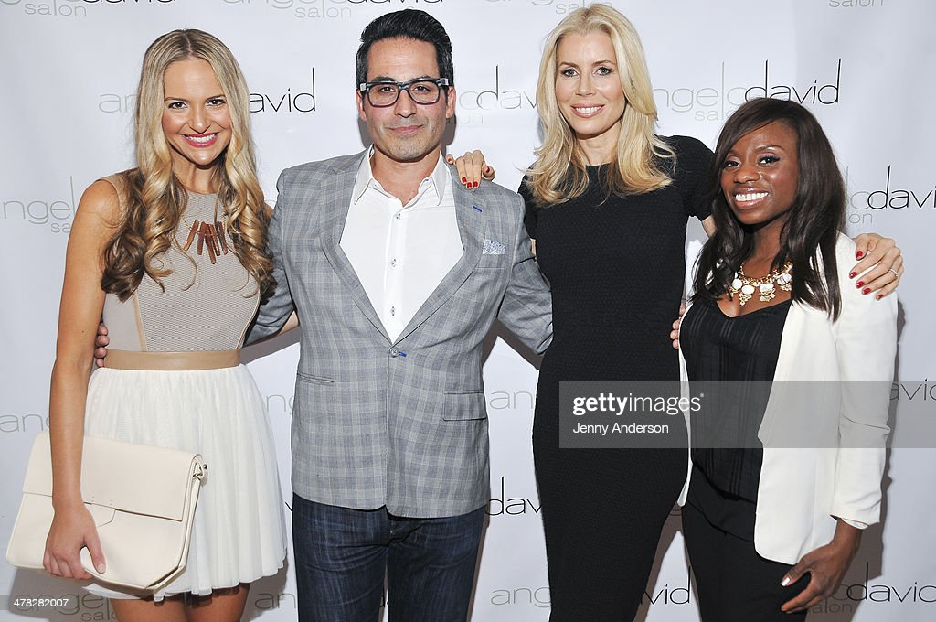 Jackie Miranne, Angelo David, Aviva Drescher and Delanie Dixon attend Aviva Drescher's 'Leggy Blonde' book launch celebration at Angelo David Salon on March 12, 2014 in New York City.