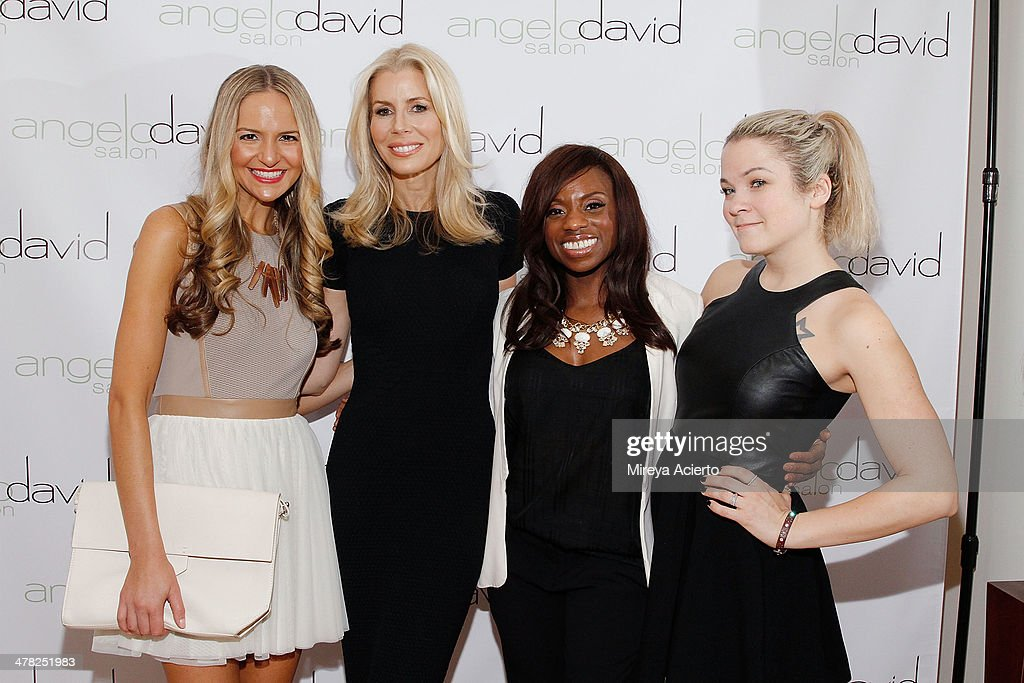 Jackie Miranne, Aviva Drescher, Delanie Dixon and <a gi-track='captionPersonalityLinkClicked' href=/galleries/search?phrase=Lenay+Dunn&family=editorial&specificpeople=7040009 ng-click='$event.stopPropagation()'>Lenay Dunn</a> attend the 'Leggy Blonde' Book Event at Angelo David Salon on March 12, 2014 in New York City.