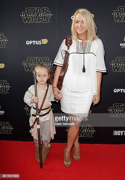 Jackie O and her daughter Kitty arrive ahead of the 'Star Wars The Force Awakens' Australian premiere on December 16 2015 in Sydney Australia