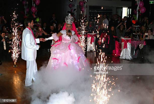 Jackie O and Lee Henderson dance during the reception during Kyle Jackie O's Big Fat Gypsy Wedding at Curzon Hall Marsfield on August 31 2012 in...