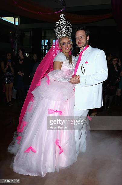 Jackie O and Lee Henderson pose during Kyle Jackie O's Big Fat Gypsy Wedding at Curzon Hall Marsfield on August 31 2012 in Sydney Australia