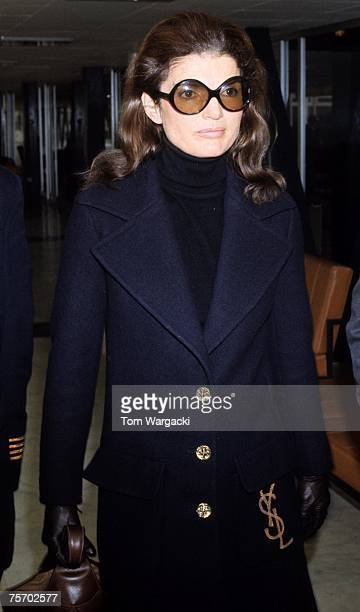 Jackie Onassis at Heathrow Airport London September 19 before catching a flight to New York City