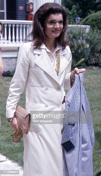 Jackie Onassis during Caroline Kennedy's Graduation Party June 6 1973 at Kennedy Compound in Hyannisport United States
