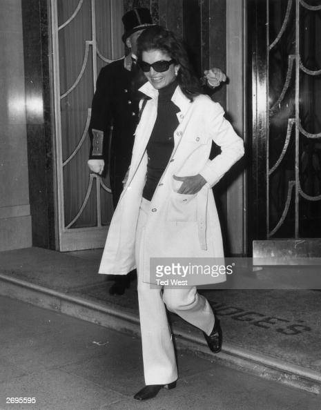 Jackie Onassis widow of American President John F Kennedy and wife of Greek born Argentinian ship owner Aristotle Onassis leaving Claridges Hotel in...