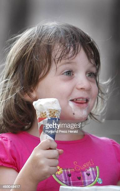 Jackie Ozek of Tewksbury Mass cools off with an MM cone at Beal's Old Fashioned Ice Cream in the Old Port Wednesday July 7 2010