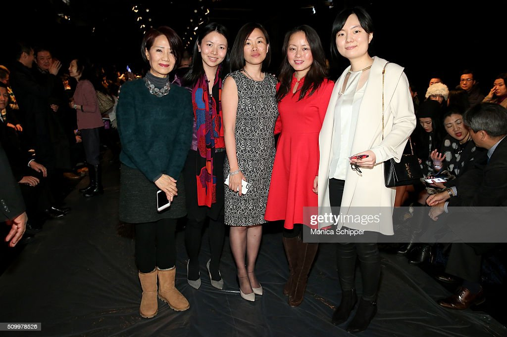 Jackie Pang, Yiting Liu, Lin Chen, Yuquing Feng, and Yiming Yuan attend Taoray Wang fashion show during Fall 2016 New York Fashion Week: The Shows at The Dock, Skylight at Moynihan Station on February 13, 2016 in New York City.