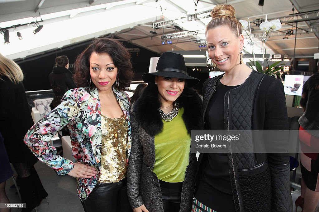 Jackie Placido, Jeanette Antin and Kristen Seymour attend the VIP reception ForBCBGMAXAZRIA hosted by Samsung Galaxy Lounge during Mercedes-Benz Fashion Week Fall 2013 Collections at Lincoln Center on February 7, 2013 in New York City.