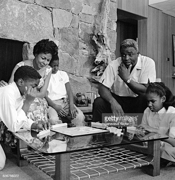 Jackie Robinson and Family Playing Scrabble