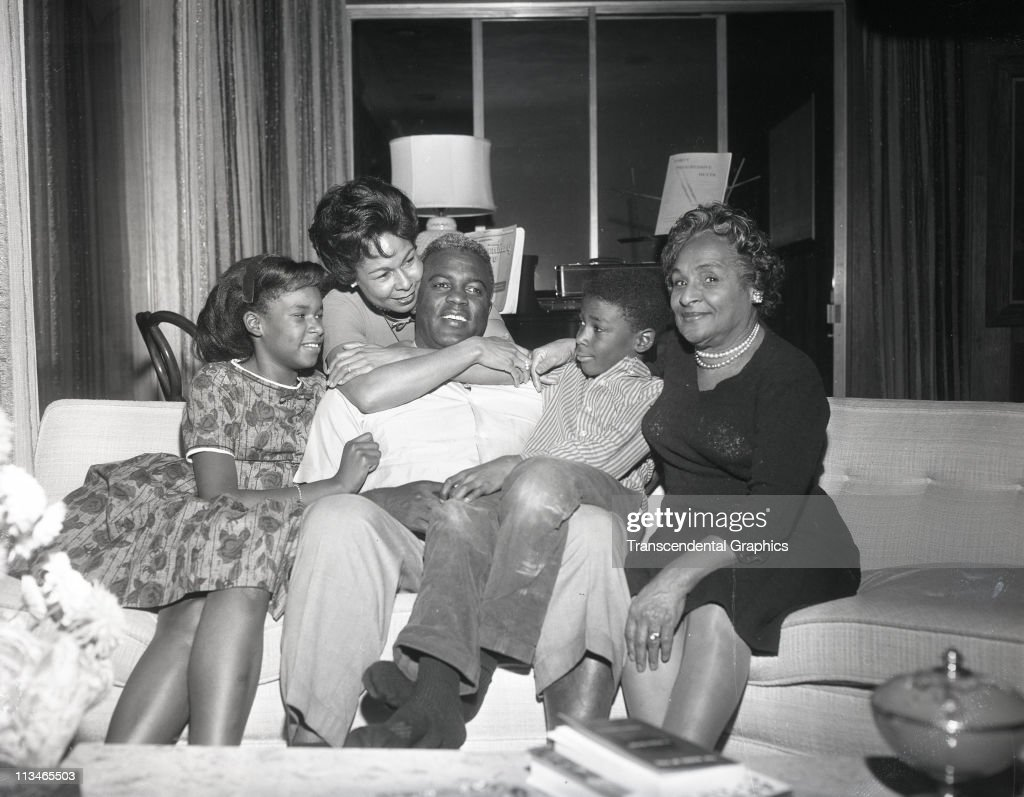Jackie Robinson and his wife and family celebrate after his election to the Baseball Hall of Fame in January,1962 in their home in the Brooklyn borough of New York City.