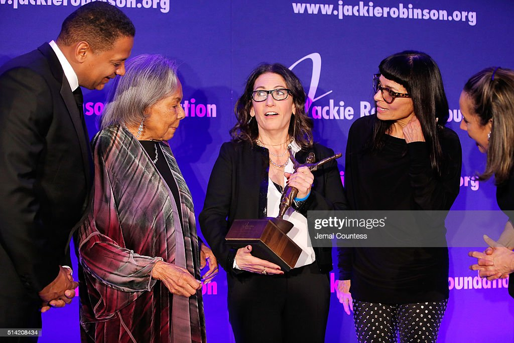 Jackie Robinson Foundation Chairman Gregg Gonsalves Jackie Robinson Foundation Founder Rachel Robinson 2016 ROBIE Humanitarian Award winner Bobbi...