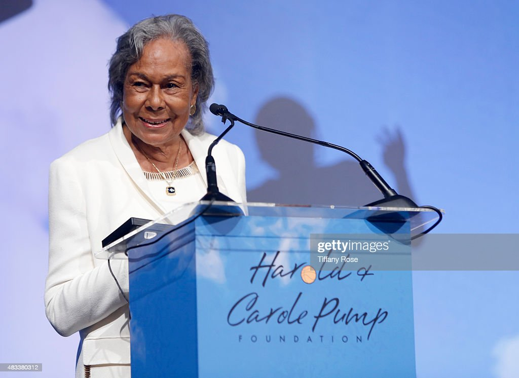 Jackie Robinson Foundation founder Rachel Robinson speaks onstage at the 15th annual Harold & Carole Pump Foundation gala at the Hyatt Regency Century Plaza on August 7, 2015 in Century City, California.