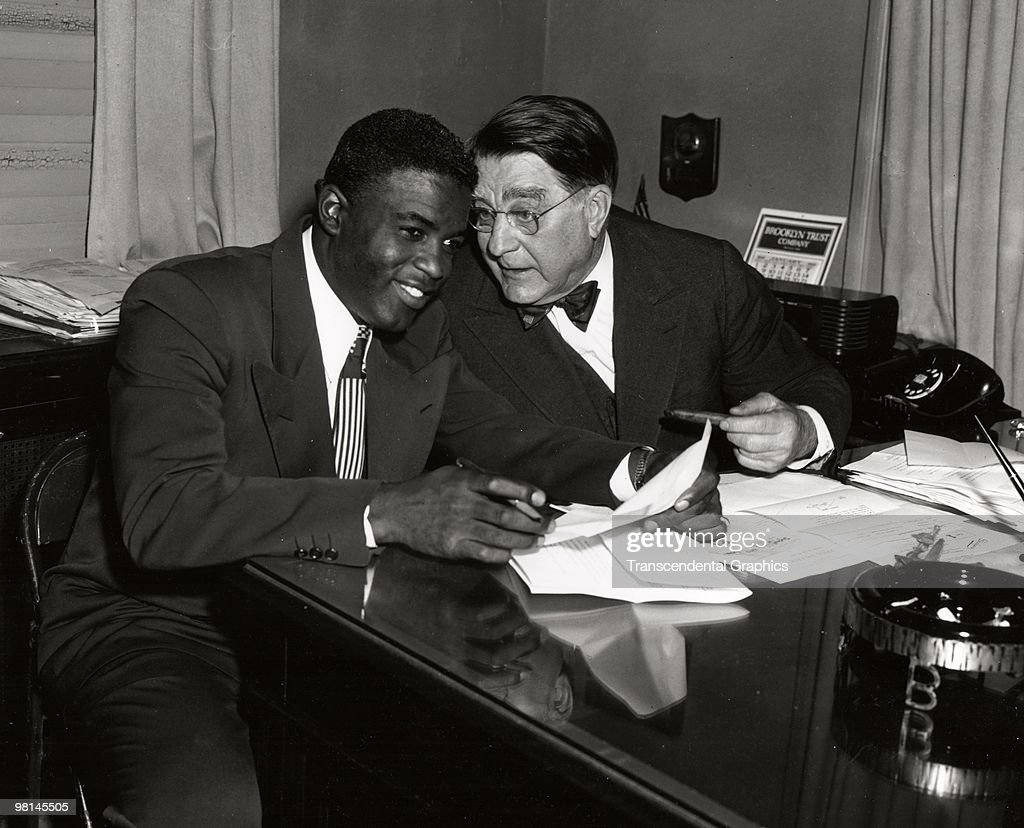 baseball hall of fame brooklyn stock photos and pictures getty jackie robinson signs branch rickey 1949