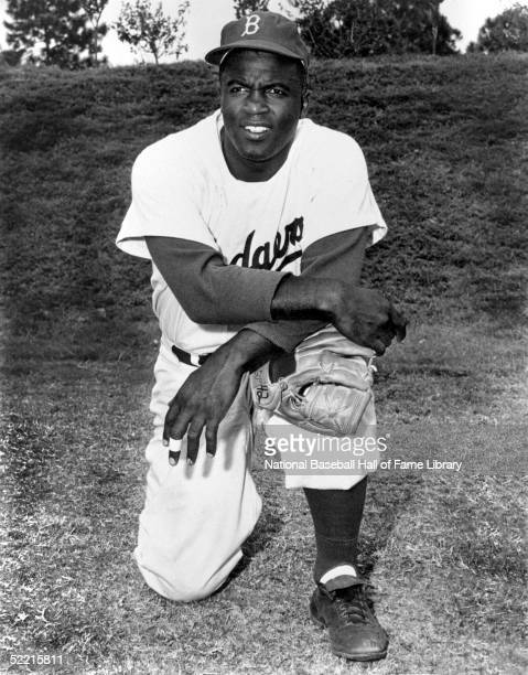 Jackie Robinson of the Brooklyn Dodgers poses for a portrait Jackie Robinson played for the Dodgers from 19471956