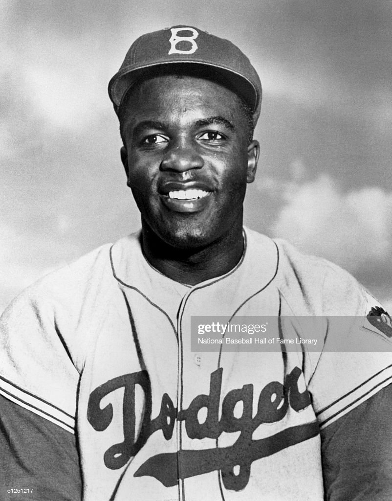 <a gi-track='captionPersonalityLinkClicked' href=/galleries/search?phrase=Jackie+Robinson&family=editorial&specificpeople=93570 ng-click='$event.stopPropagation()'>Jackie Robinson</a> poses for a season portrait. <a gi-track='captionPersonalityLinkClicked' href=/galleries/search?phrase=Jackie+Robinson&family=editorial&specificpeople=93570 ng-click='$event.stopPropagation()'>Jackie Robinson</a> played for the Brooklyn Dodgers from 1947-1956.