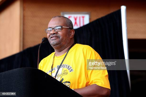 Jackie Robinson West's little league director Bill Haley speaks during the team's United States World Series Championship Rally at Millennium Park on...