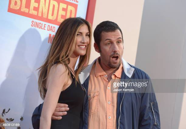 Jackie Sandler and Adam Sandler attend the 'Blended' premiere at TCL Chinese Theatre on May 21 2014 in Hollywood California