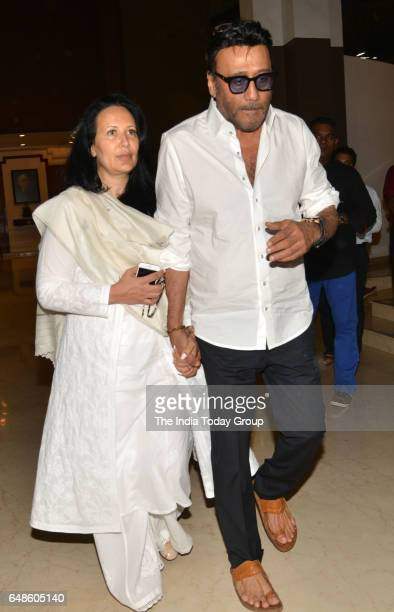 Jackie Shroff with wife Ayesha Dutt during the prayer meeting for Suniel Shetty's father Veerapa Shetty in Mumbai
