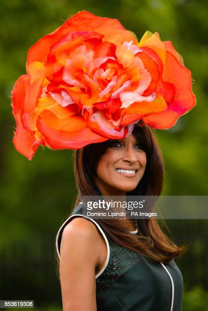 Jackie St Clair wearing a floral hat on Day Two of the 2014 Royal Ascot Meeting at Ascot Racecourse Berkshire