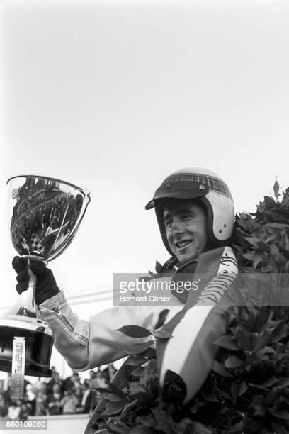 Jackie Stewart BRM P261 Grand Prix of Italy Autodromo Nazionale Monza September 12 1965 Jackie Stewart enjoying his first Formula 1 Grand Prix win in...