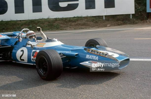 Jackie Stewart driving a Matra MS80 at Clermont Ferrand French GP 1st