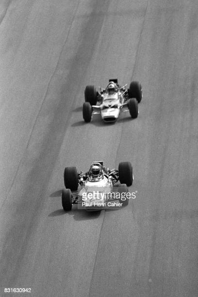 Jackie Stewart Jochen Rindt MatraFord MS80 LotusFord 49B Grand Prix of Italy Monza 07 September 1969 High speed battle between Jackie Stewart and...