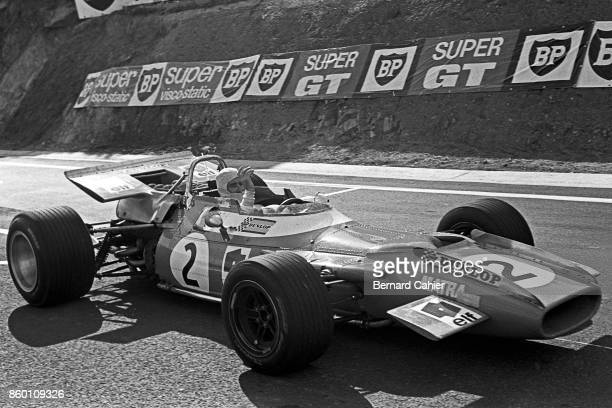 Jackie Stewart MatraFord MS80 Grand Prix of France Charade Circuit July 6 1969 Jackie Stewart right after winning the 1969 French Grand Prix in...
