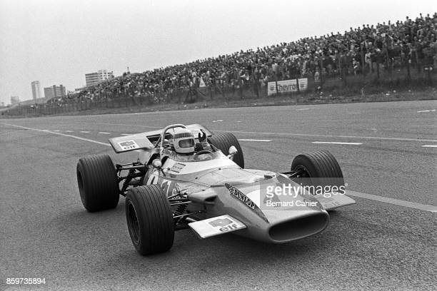 Jackie Stewart MatraFord MS80 Grand Prix of the Netherlands Circuit Park Zandvoort June 21 1969 A victorious Jackie Stewart right after the finish of...