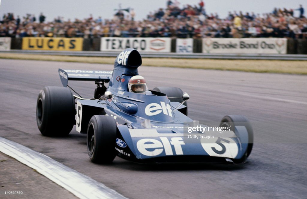 <a gi-track='captionPersonalityLinkClicked' href=/galleries/search?phrase=Jackie+Stewart&family=editorial&specificpeople=167276 ng-click='$event.stopPropagation()'>Jackie Stewart</a> of Great Britain drives the #5 Elf Team Tyrrell Tyrrell 006 Ford Cosworth DFV during the British Grand Prix on 14th July 1973 at the Silverstone Circuit in Towcester, Great Britain.