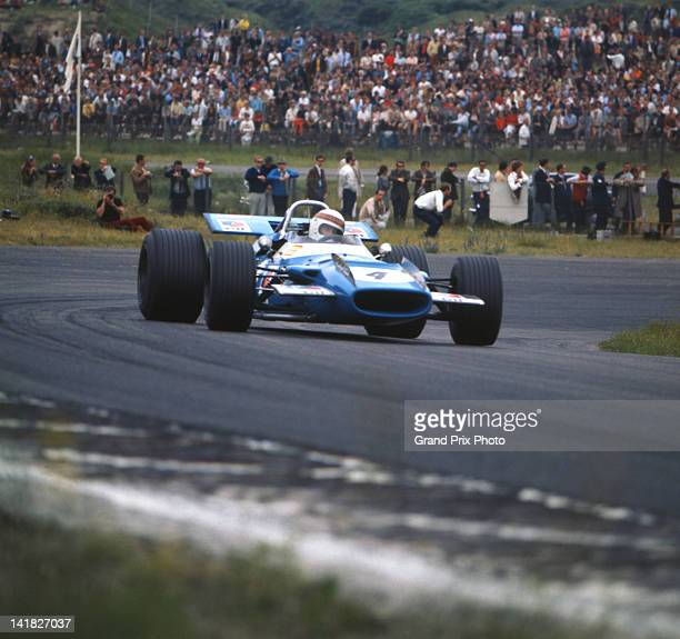 Jackie Stewart of Great Britain drives the Matra International Matra MS80 Ford Cosworth DFV 30 V8 during the Dutch Grand Prix on 21st June 1969 at...