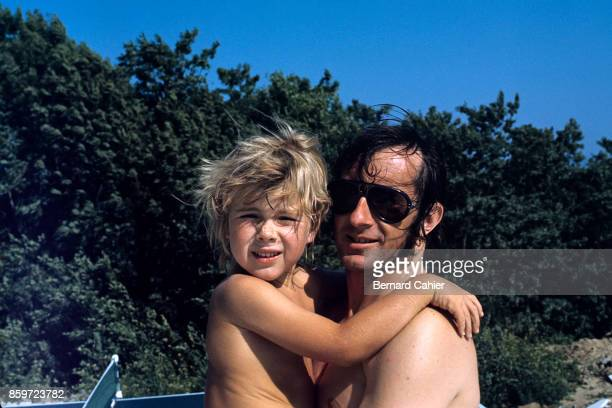 Jackie Stewart Paul Stewart Jackie Stewart's home Begnins July 25 1969 Jackie and his son Paul Stewart at home in Begnins 1969