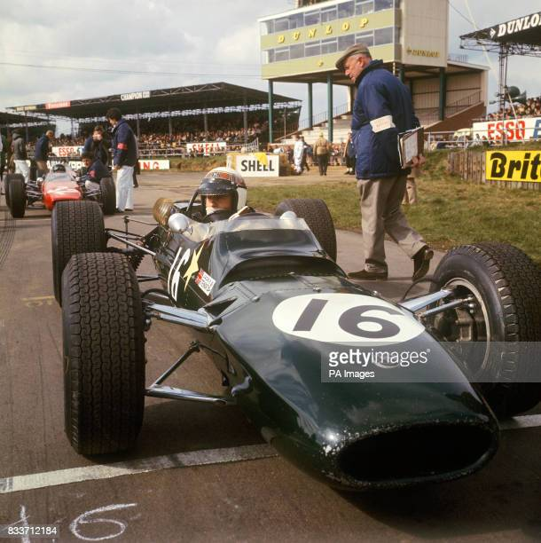 Jackie Stewart seated in a Matra Cosworth 1594cc at Silverstone Northamptonshire