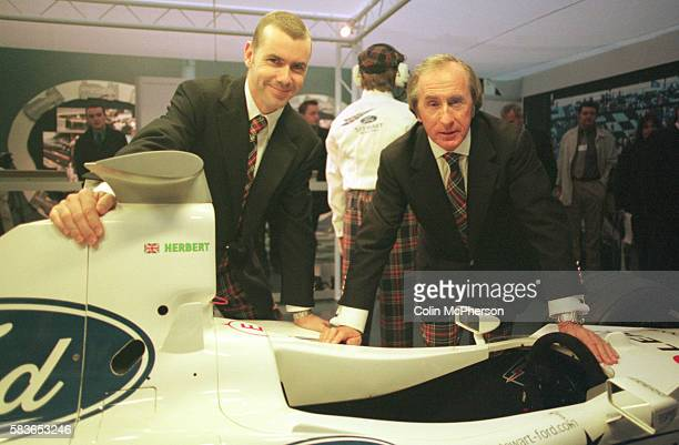 Jackie Stewart with son Paul Stewart opening an exhibitoin at the Royal Museum that recreates the 1999 Stewart Grand Prix Pit Garage The father son...