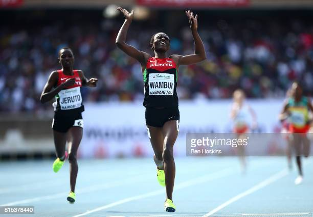 Jackline Wambui of Kenya celebrates after winning gold in the final of the girls 800m on day five of the IAAF U18 World Championships at The Kasarani...